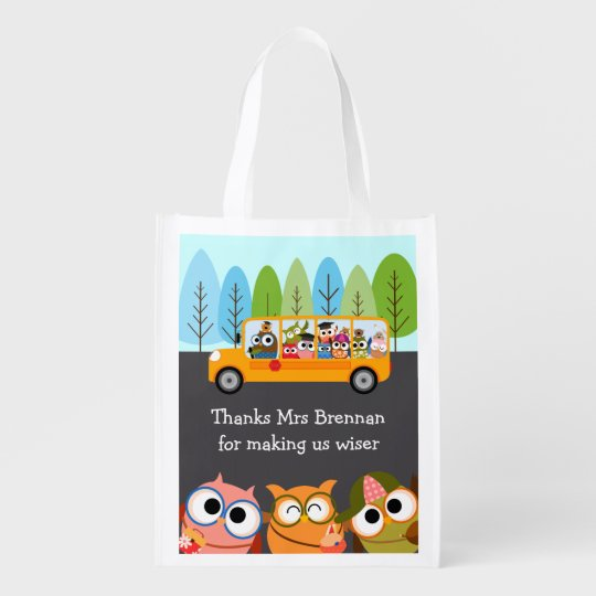 Cute Owls School Bus Teacher Appreciation Reusable Grocery Bag