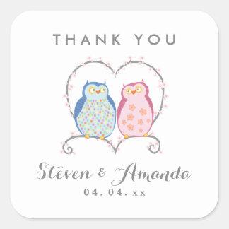 Cute Owls | Thank You Wedding Favor Sticker
