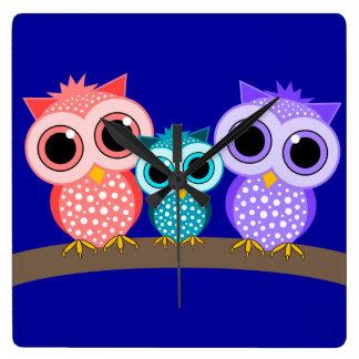 cute owls wall clocks