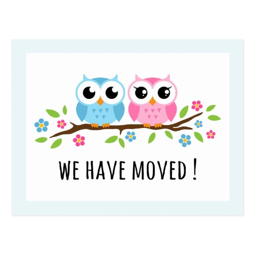 Cute owls we have moved change of address moving postcards