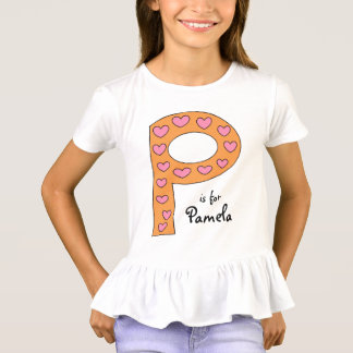 Cute P Letter Design Personalized Girl's Name T-Shirt