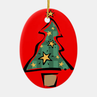Cute Painted Christmas Tree Ceramic Ornament