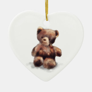 Cute Painted Teddy Bear Ceramic Heart Ornament