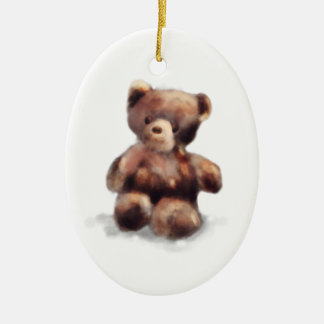 Cute Painted Teddy Bear Ceramic Oval Ornament