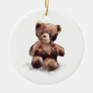 Cute Painted Teddy Bear Round Ceramic Ornament