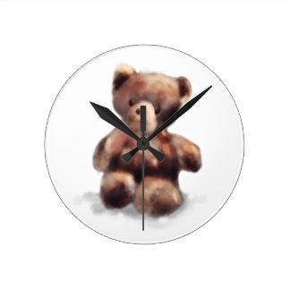 Cute Painted Teddy Bear Round Clock
