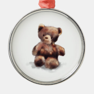 Cute Painted Teddy Bear Silver-Colored Round Ornament