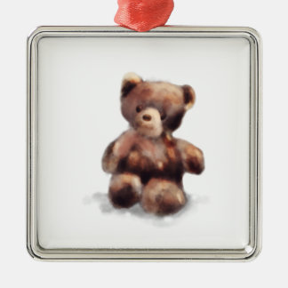 Cute Painted Teddy Bear Silver-Colored Square Ornament