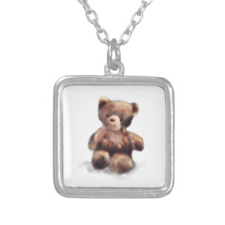 Cute Painted Teddy Bear Silver Plated Necklace