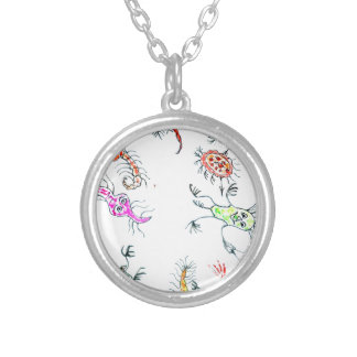 Cute Painted Viruses2 Silver Plated Necklace