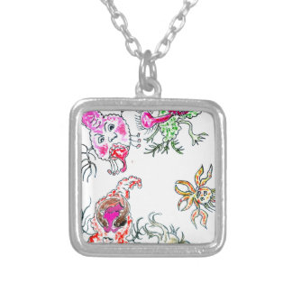 Cute Painted Viruses Silver Plated Necklace