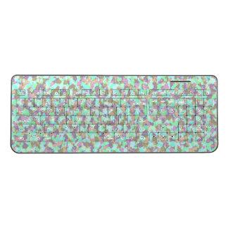 Cute Painterly Pastel Camouflage Wireless Keyboard