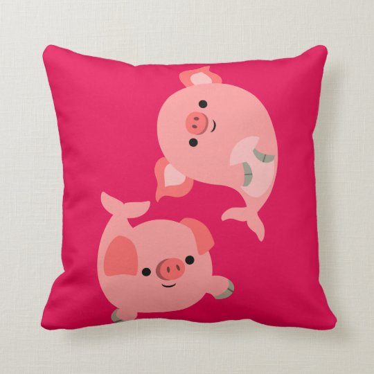 Cute Pair of Cartoon Merpigs Throw Pillow