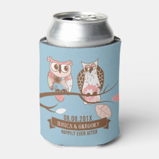 Cute Pair Of Owls In Brown And Pink Can Cooler