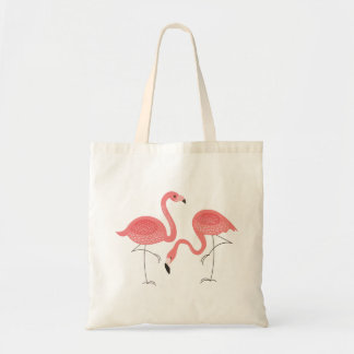 Cute Pair Of Pink Flamingo Illustration Tote Bag
