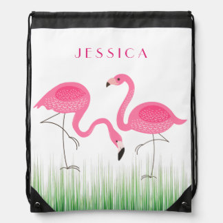 Cute Pair Of Pink Flamingos Illustration Drawstring Bag