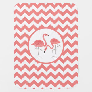 Cute Pair Of Pink Flamingos With Chevron Swaddle Blankets