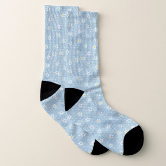 Cute pale blue faded denim floral socks