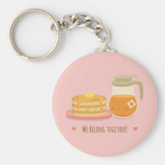Cute Pancakes and Maple Couple Keychain