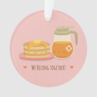 Cute Pancakes and Maple In Love Pink Ornament