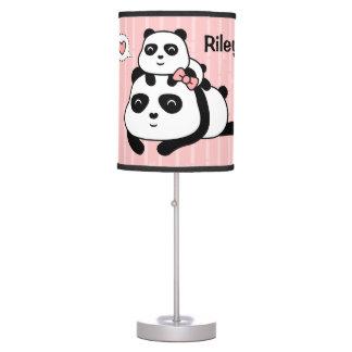 Cute Panda Baby Cub Loves Mommy Table Lamp