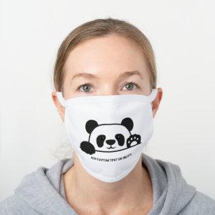 Cute Panda Bear Animal Add Custom Text White White Cotton Face Mask