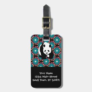Cute Panda Bear Blue Pink Flowers Floral Pattern Luggage Tag