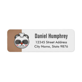 Cute Panda Bear Cartoon on Chestnut Brown Return Address Label