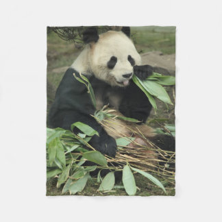 Cute Panda Bear Eating Leaves Fleece Blanket
