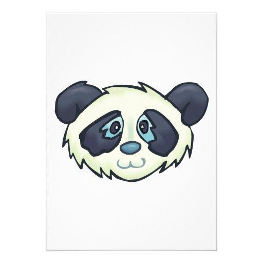 cute panda bear face personalized invitation