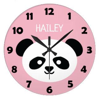 Cute Panda Bear Face Kids Kawaii Personalized Pink Large Clock