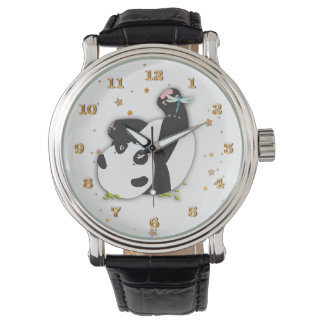 Cute Panda Bear for Animal Lovers Gold Stars Watch