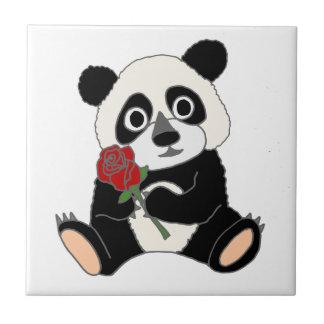 Cute Panda Bear Holding Red Rose Tiles