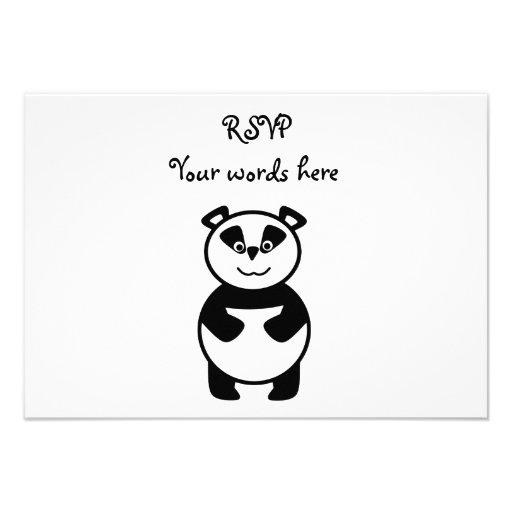Cute panda bear invites