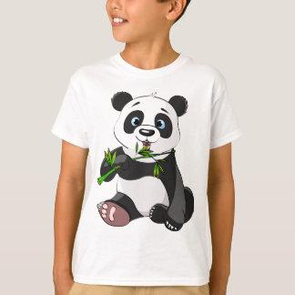 cute,panda bear,kids,animated,happy, eating bamboo T-Shirt