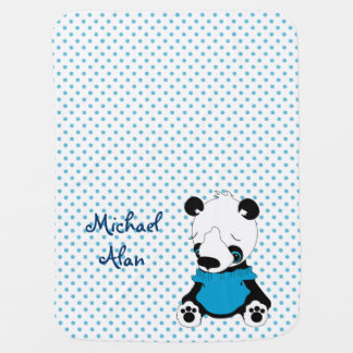 Cute Panda Bear Personalized Polka Dot Baby Blanket