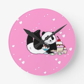 Cute Panda Bear Picnic Round Clock