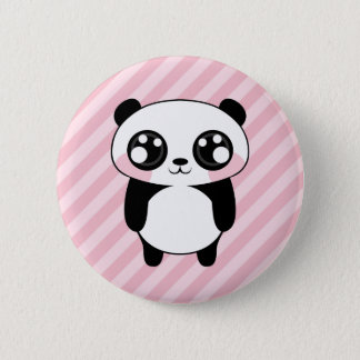 Cute Panda Bear Pink Stripes Background 2 Inch Round Button