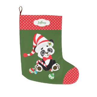 Cute Panda Bear Polkadot Large Christmas Stocking