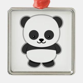 Cute Panda Bear Silver-Colored Square Ornament