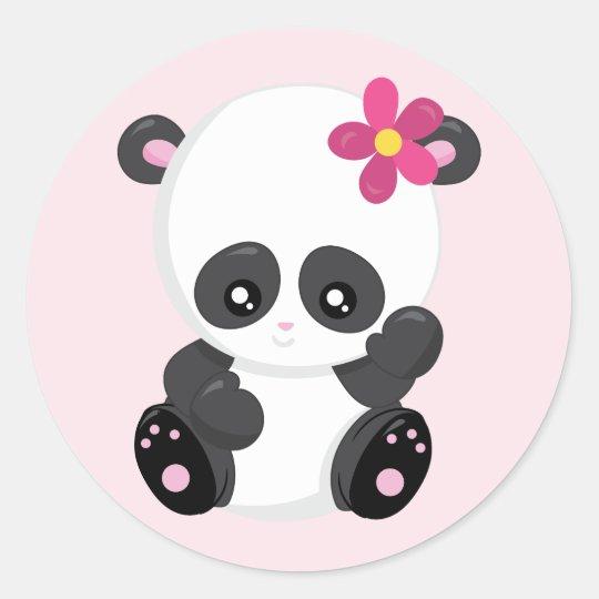 Cute Panda Bear Waving Classic Round Sticker