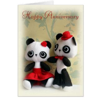 Cute Panda Bears Couple Anniversary Greeting Card
