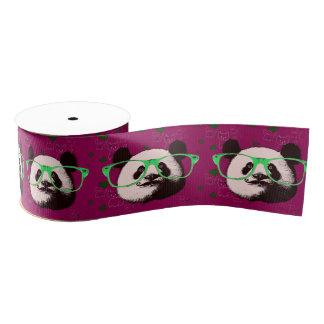 Cute Panda Bears Funny Personalized Grosgrain Ribbon
