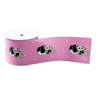 Cute Panda Bears Funny Personalized Grosgrain Ribbon