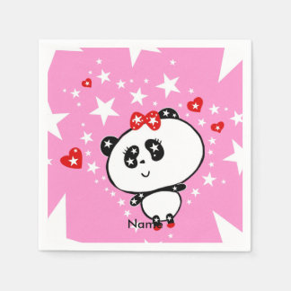 Cute Panda Bears Funny Personalized Paper Napkins