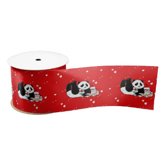 Cute Panda Bears Funny Personalized Satin Ribbon