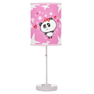 Cute Panda Bears Funny Personalized Table Lamp
