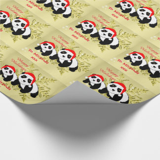 Cute Panda Bears Sparkly Gold Personalized Wrapping Paper