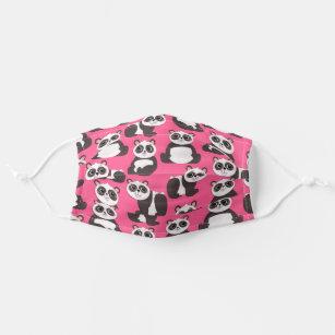Cute Panda Cartoon Animals Pink Girl Bears Print Cloth Face Mask