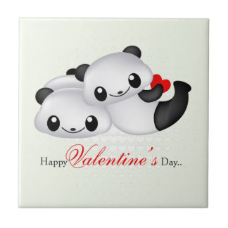 Cute panda couple ceramic tile